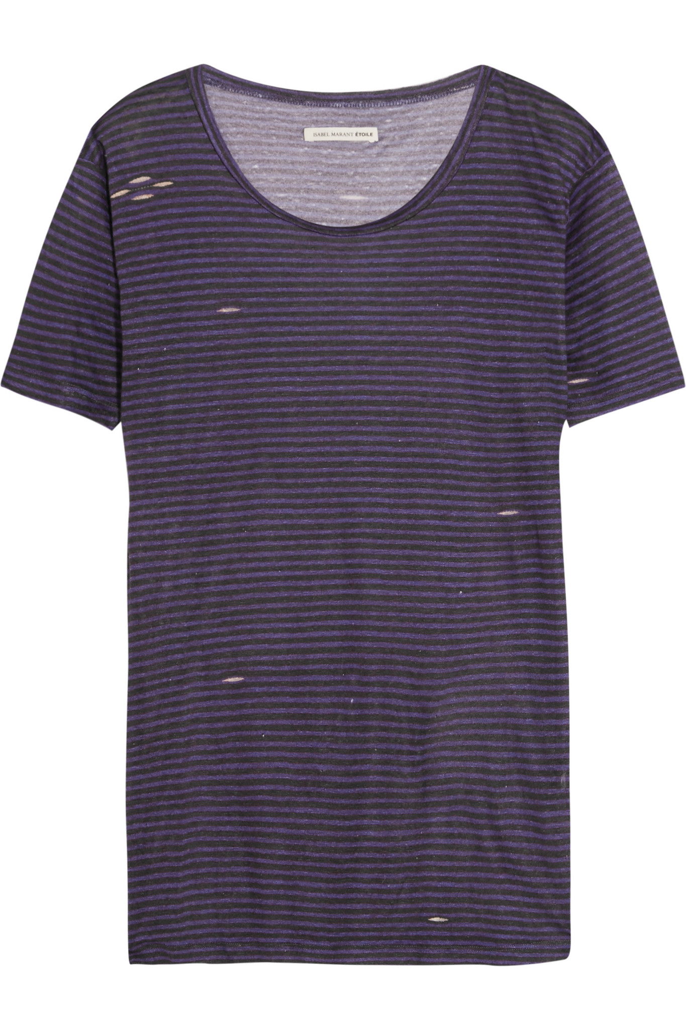 Lyst toile isabel marant jina striped stretch linen t for Purple and black striped t shirt