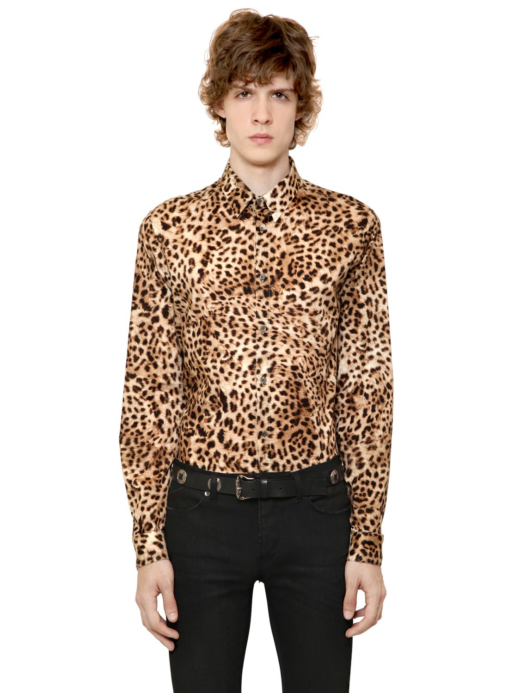 81b2ea2ceb3d Roberto Cavalli Leopard Printed Cotton Poplin Shirt for Men - Lyst