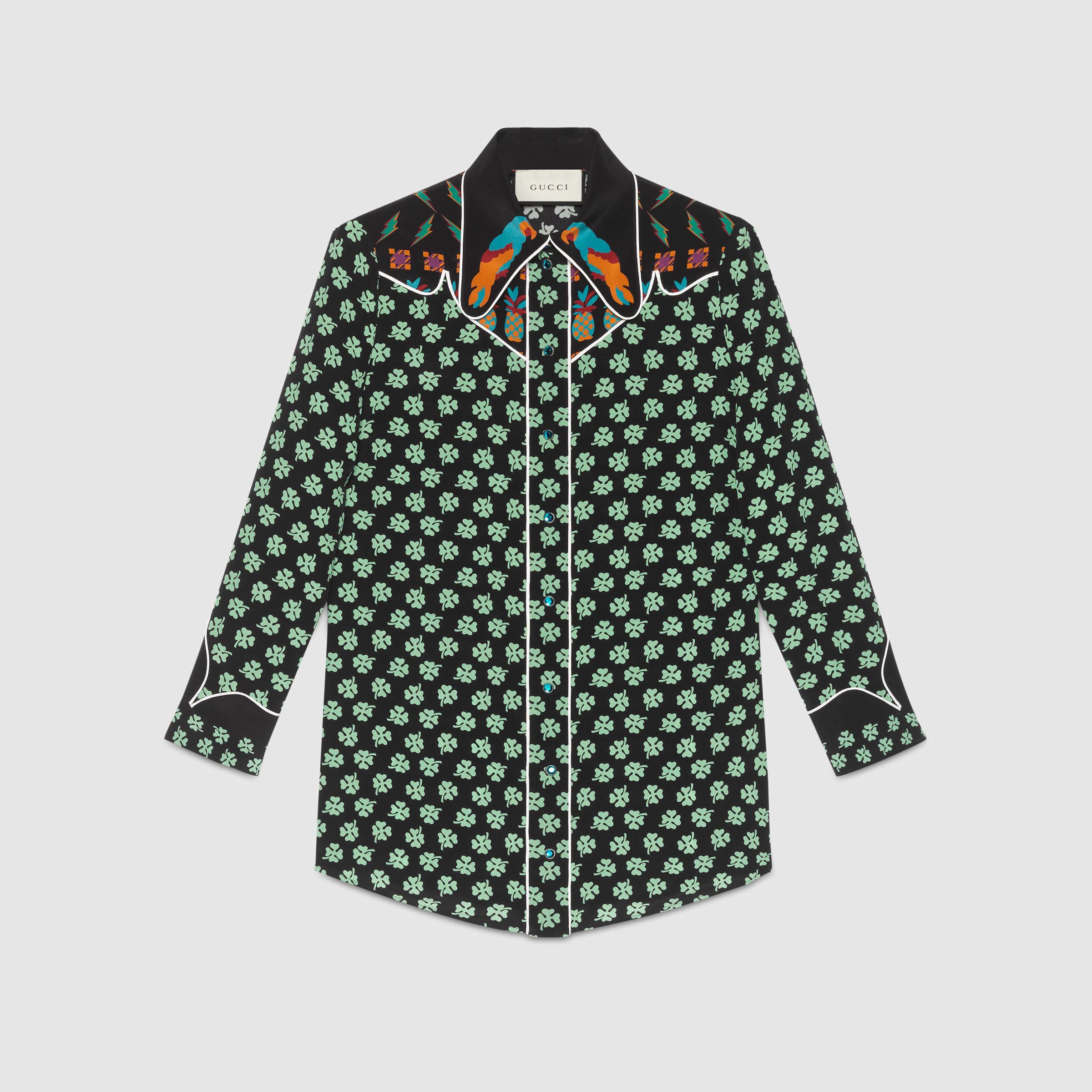 gucci four leaf clover silk shirt in green lyst