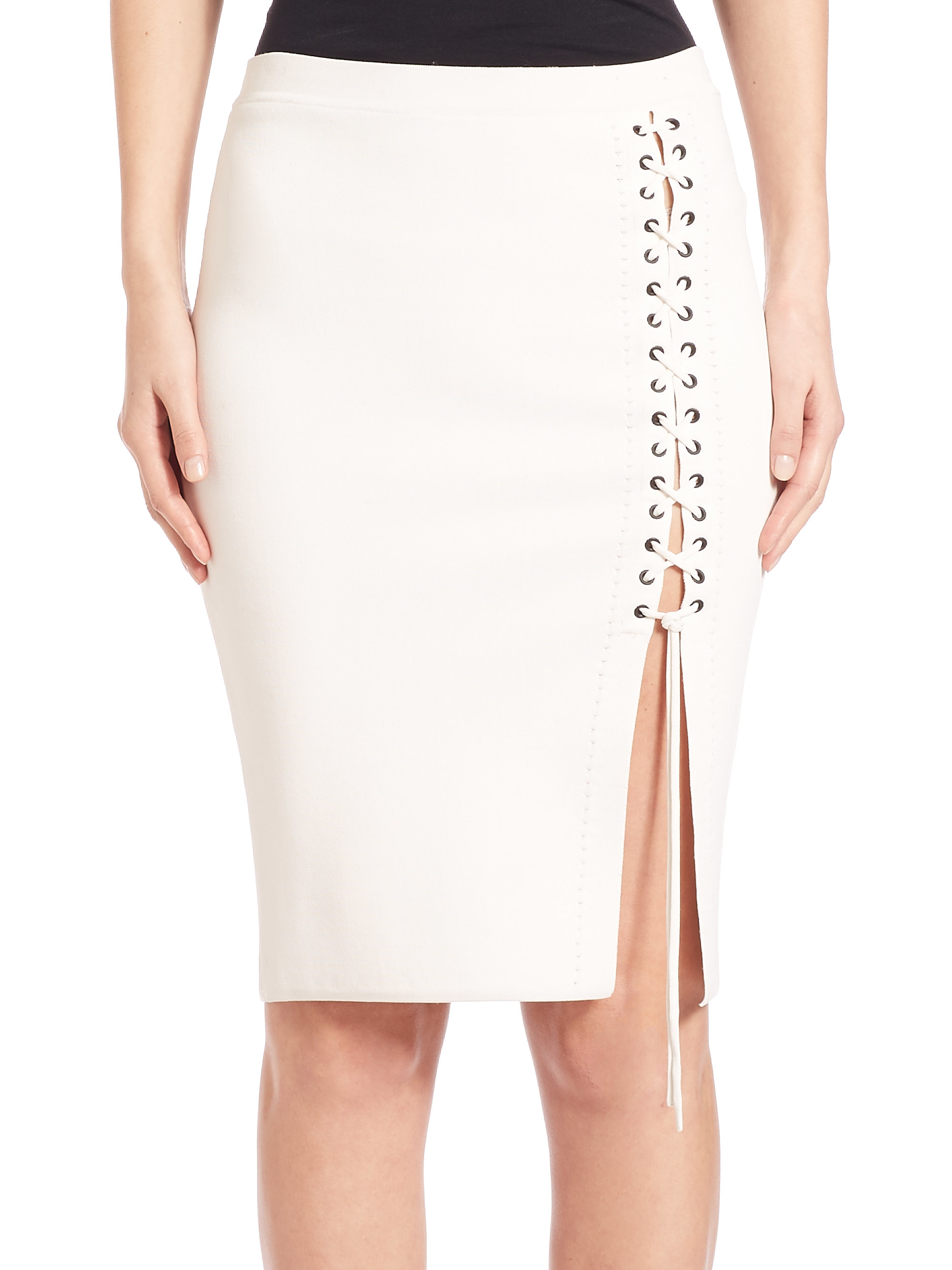 wang lace up side pencil skirt in white lyst