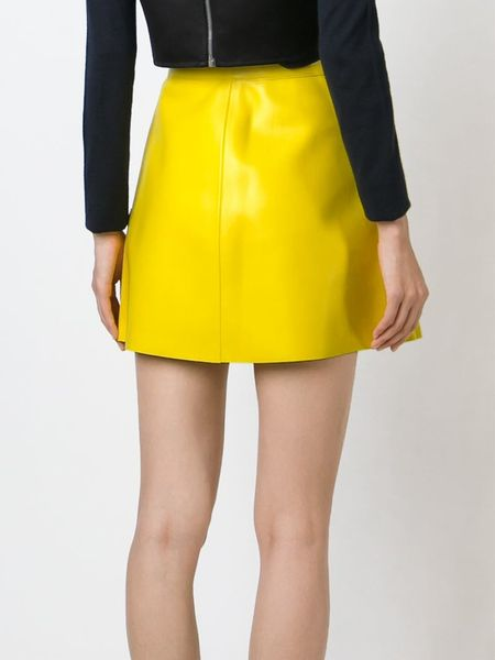 msgm patch pocket faux leather skirt in yellow yellow