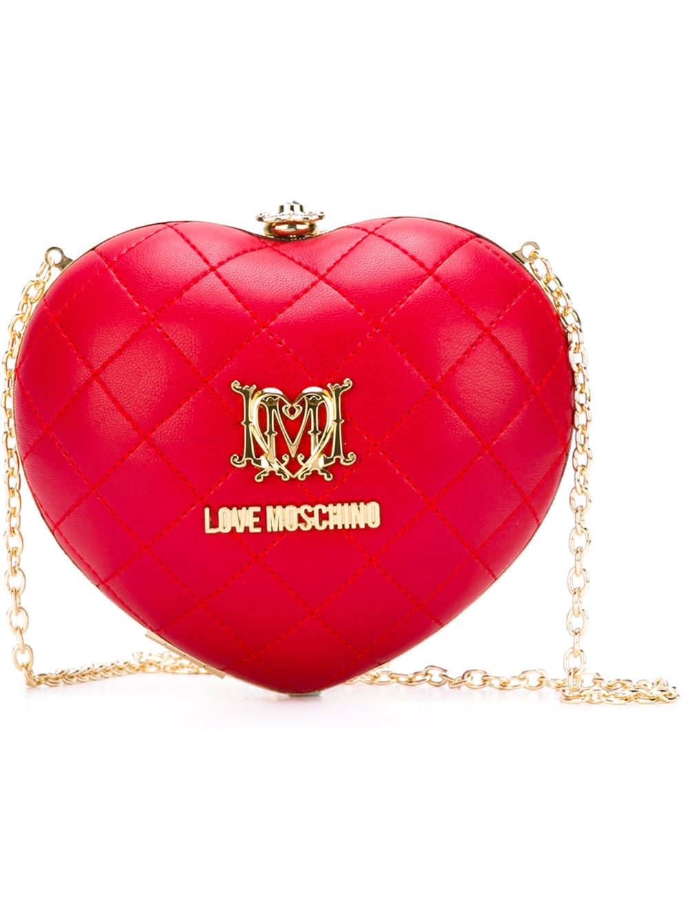 6f7c791e1c Love Moschino Quilted Heart Clutch in Metallic - Lyst