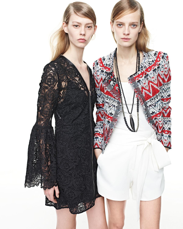 Mcq Long Sleeve Lace Zip Front Mini Dress In Black Lyst