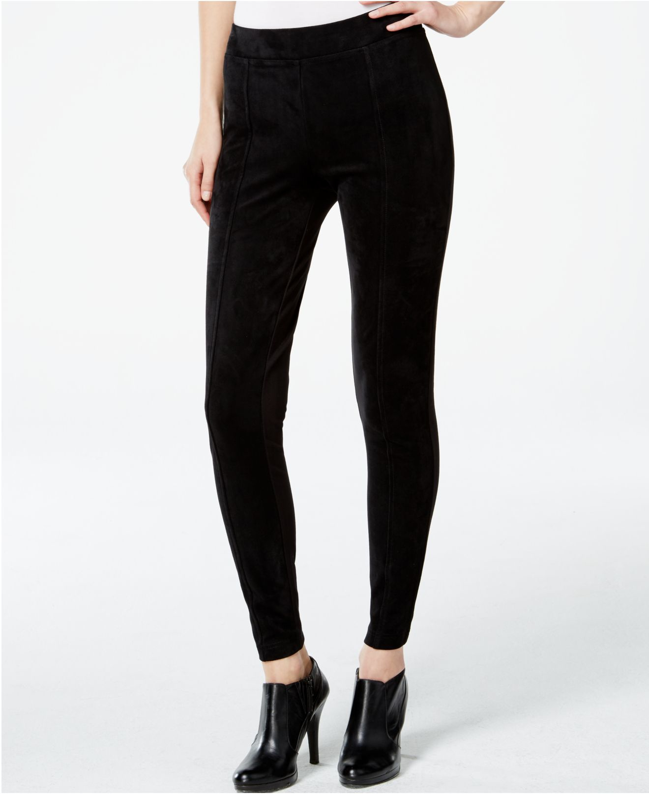 calvin klein faux suede front seamed leggings in black lyst. Black Bedroom Furniture Sets. Home Design Ideas