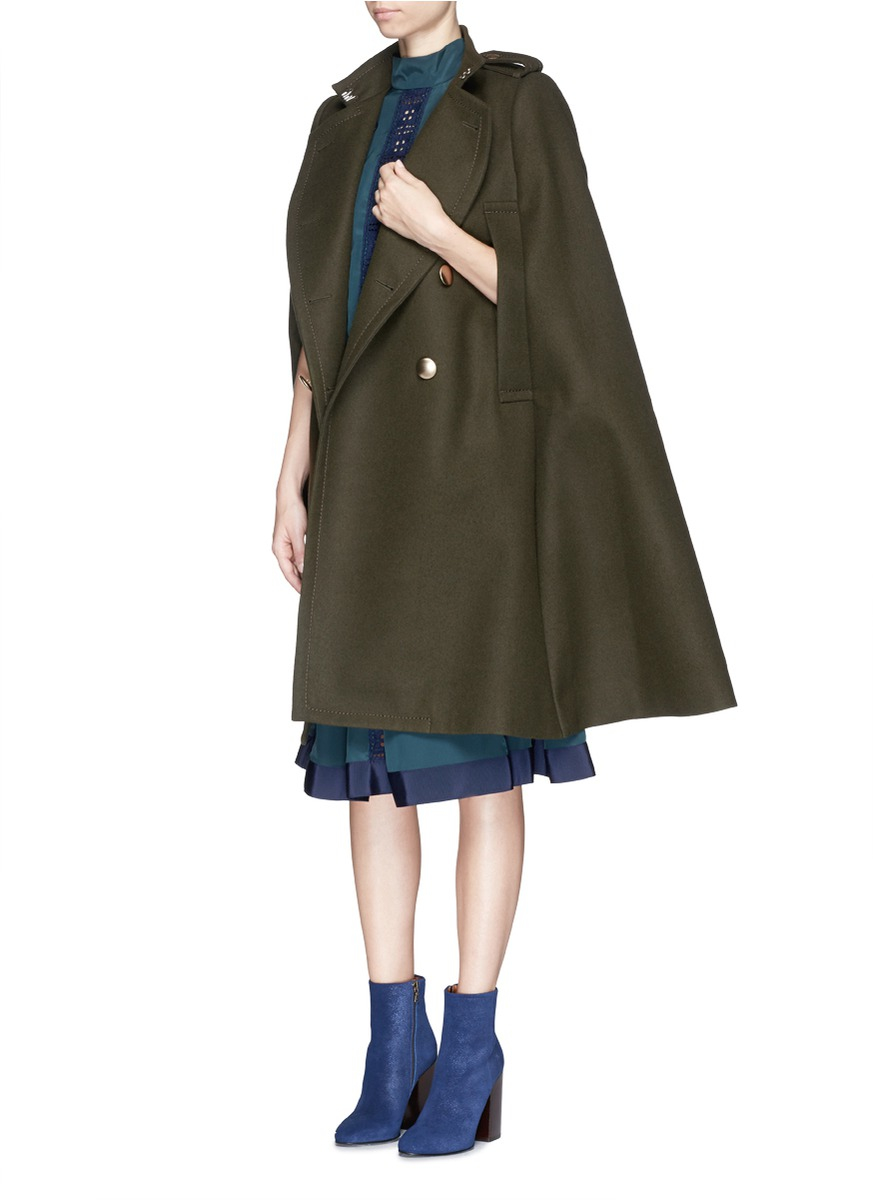 Sacai luck Brass Button Wool Felt Military Cape Coat in Brown | Lyst