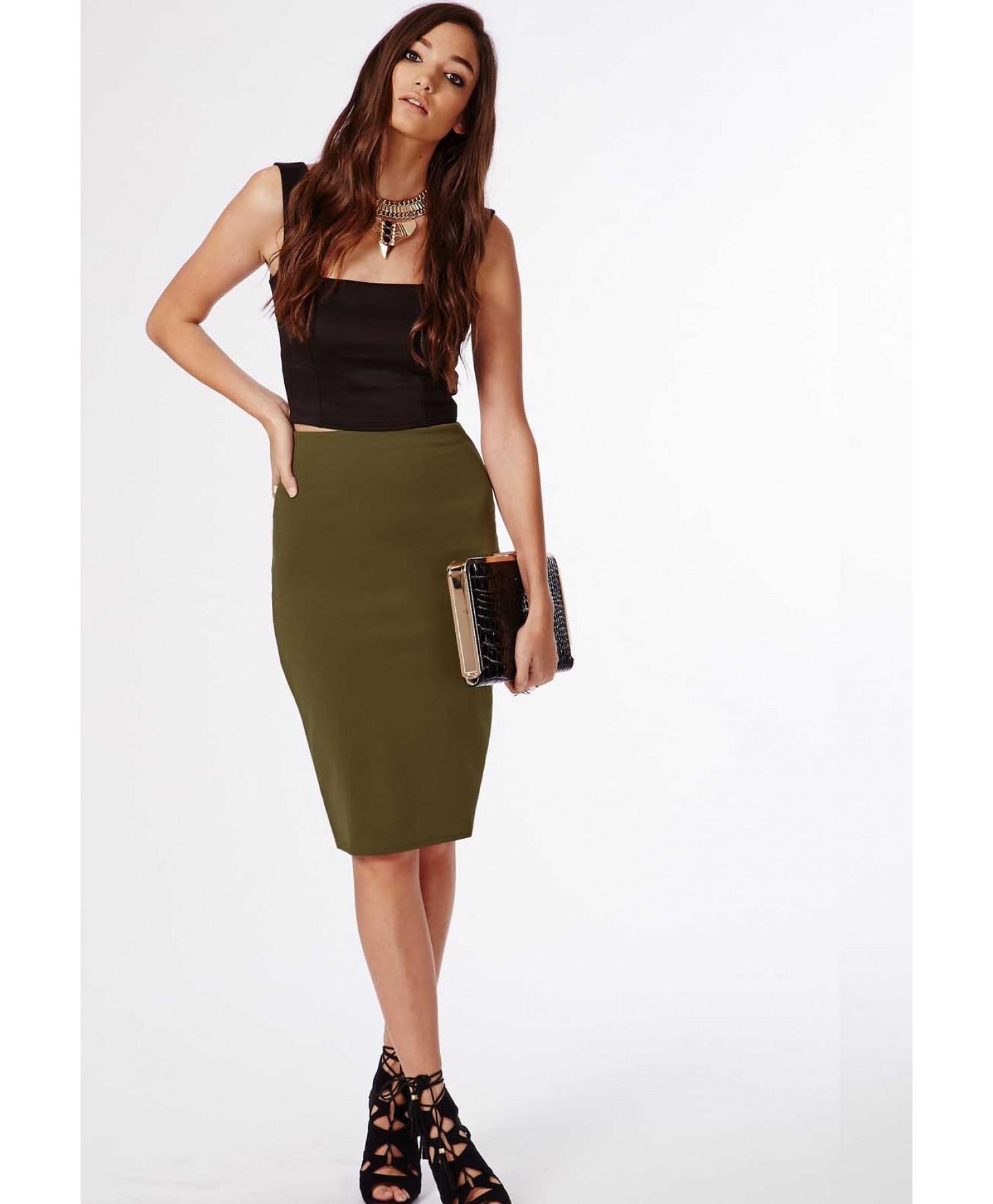 480a18b54d Lyst - Missguided Candace Scuba Midi Skirt Khaki in Natural
