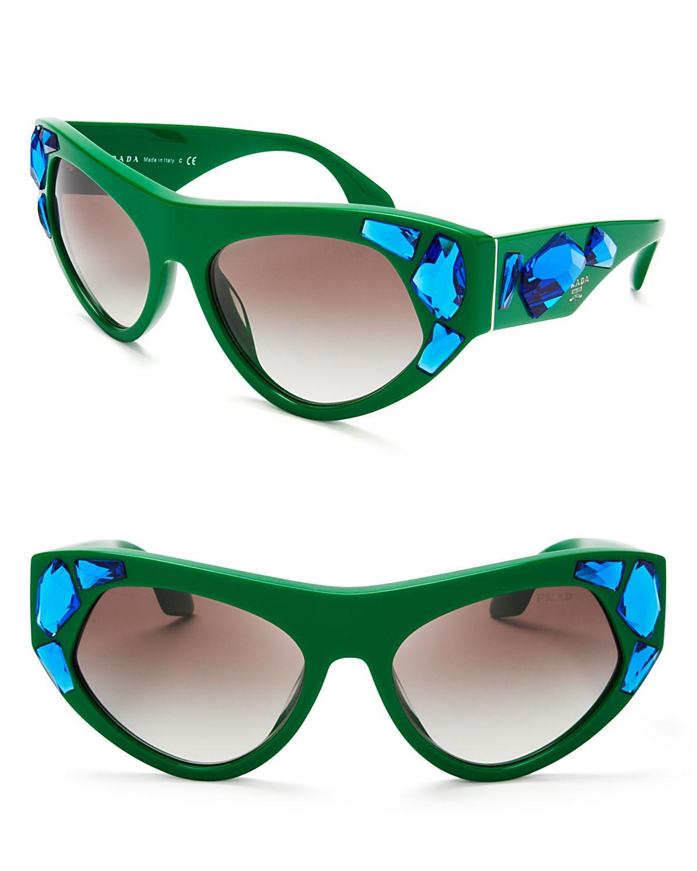 9d8f101328d8 Prada Oversized Crystal Cat Eye Sunglasses in Green - Lyst