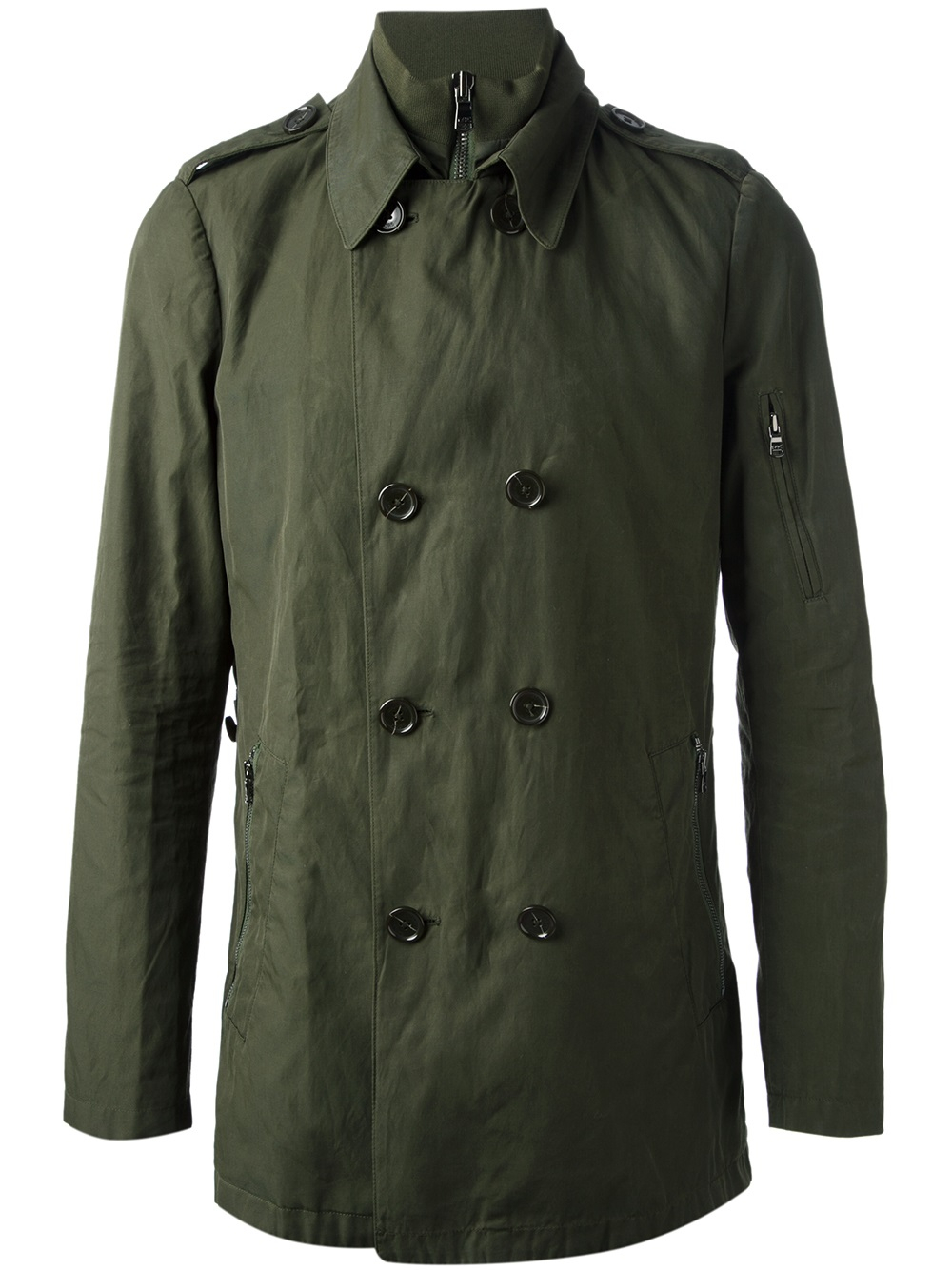 Michael Kors Military Trench Coat In Green For Men Lyst