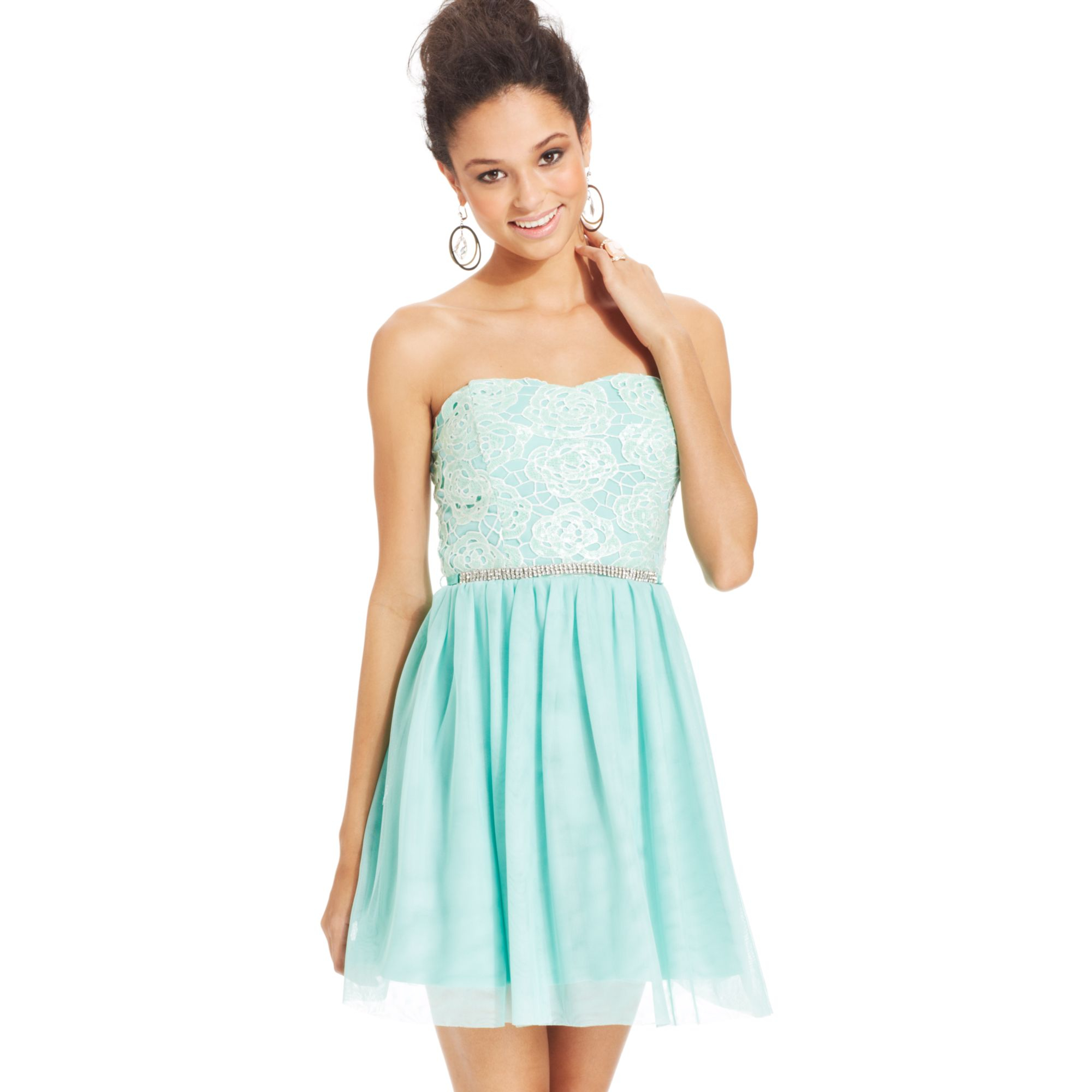 a58381ef55 Lyst - As U Wish Juniors Strapless Lace Aline Dress in Blue