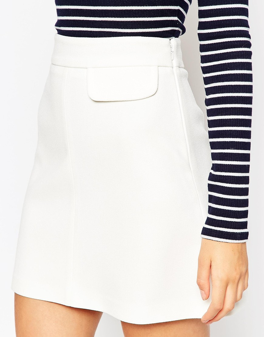 asos a line skirt with pocket detail in white lyst