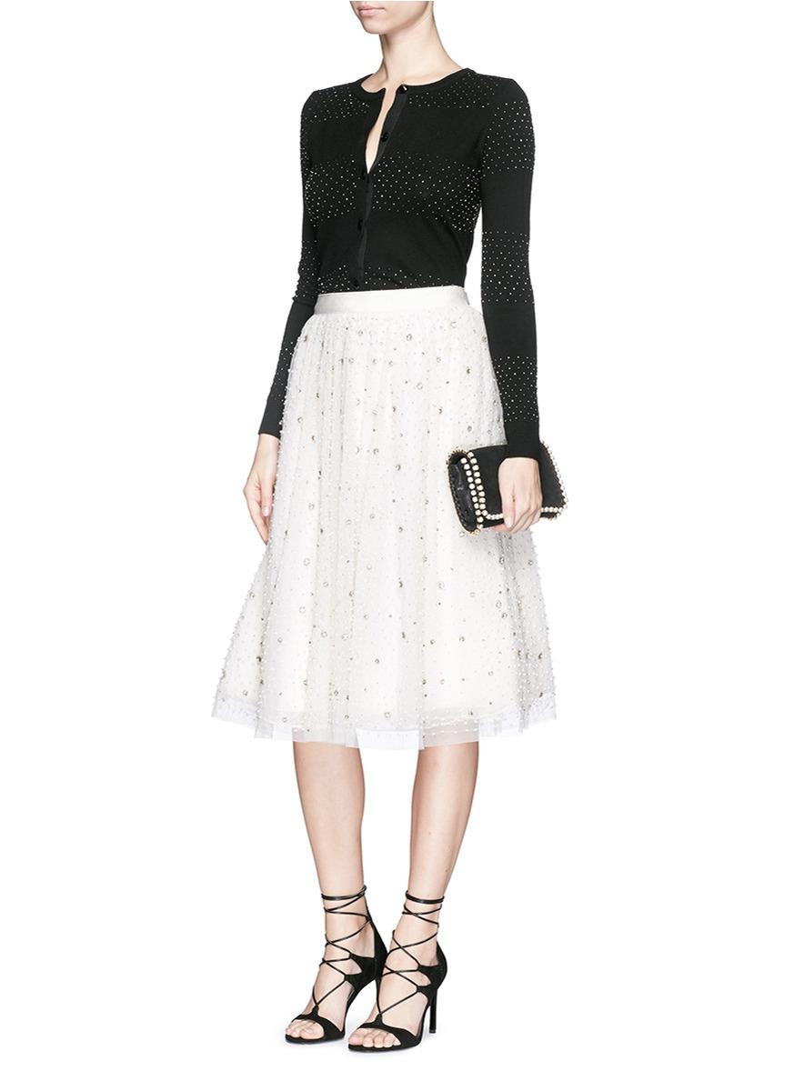 catrina beaded tulle midi skirt in white