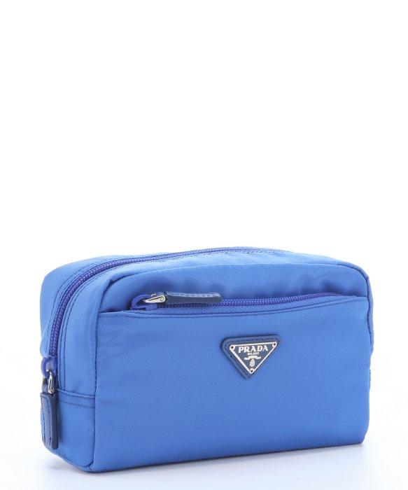 Prada Light Blue Saffiano Leather Trimmed Nylon Cosmetic Travel ...