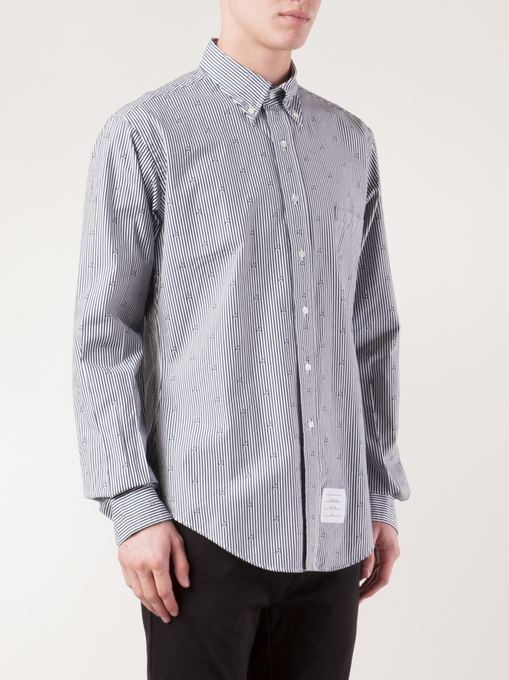 Lyst thom browne striped shirt in blue for men for Thom browne white shirt