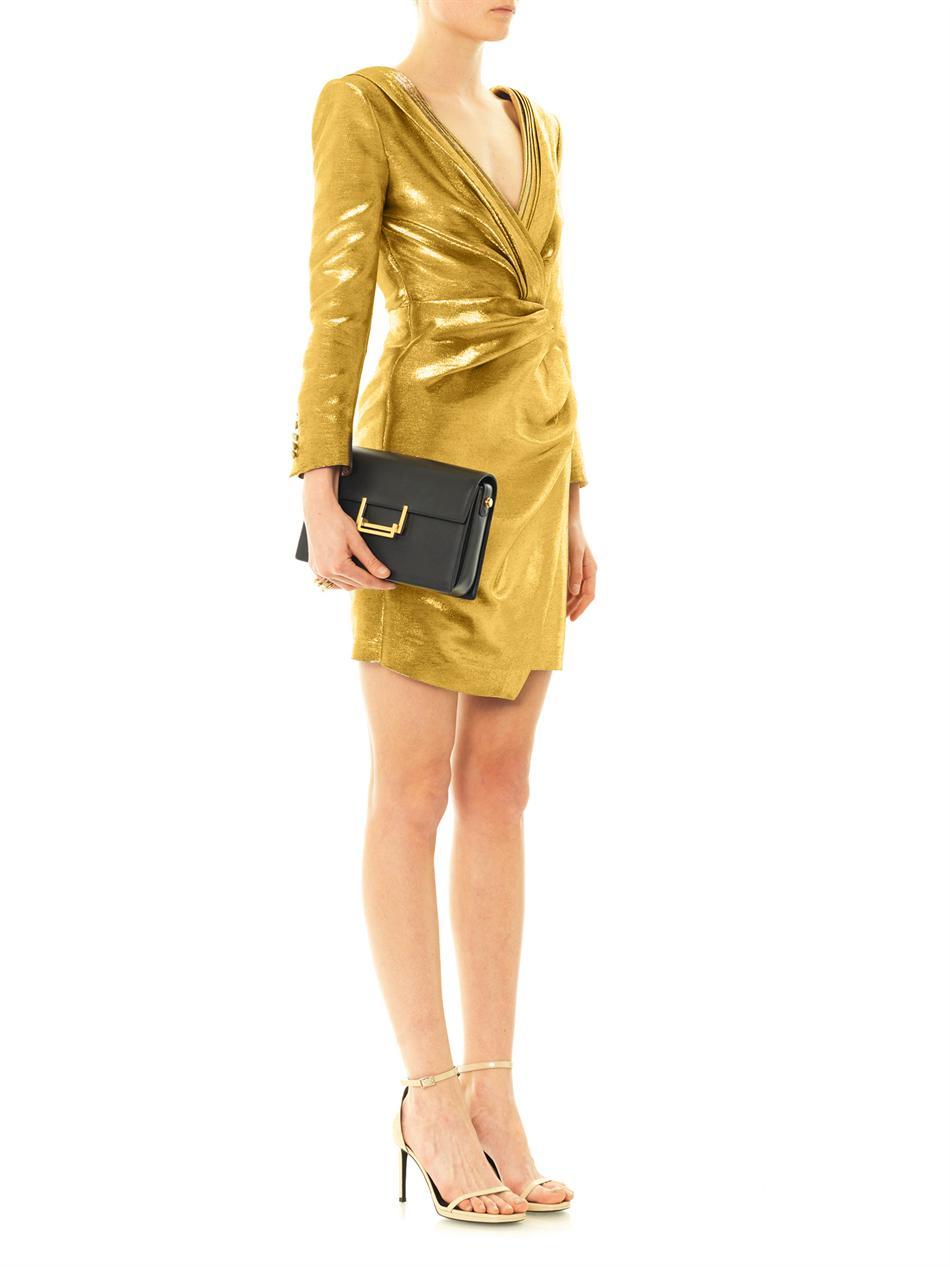 Saint laurent Metallic Lamé Ruched Wrap Dress in Metallic | Lyst