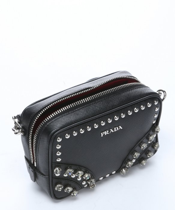Embellished leather crossbody bag Prada uvRxBqdti7