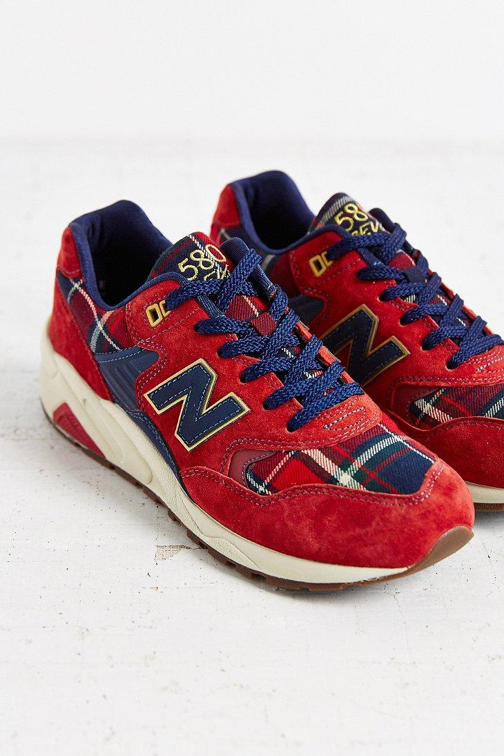 New Balance Suede 580 Tartan Running Sneaker In Red (Blue
