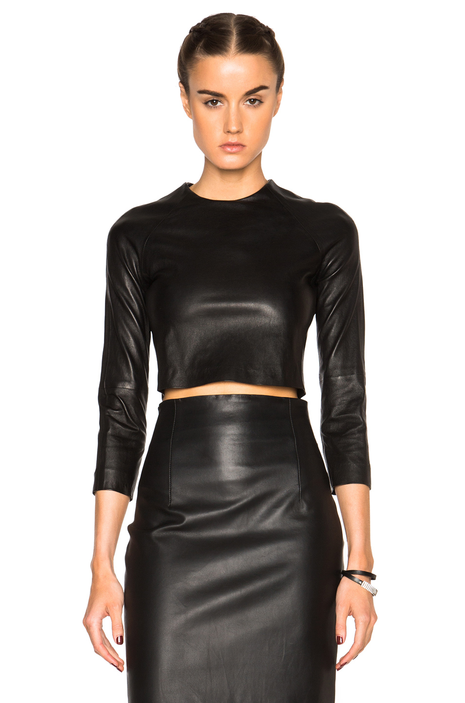 Black leather crop top - Black leather crop top with padded cups. Looks wrinkly right now because it was in a pile of clothing. Zipper closure in back.