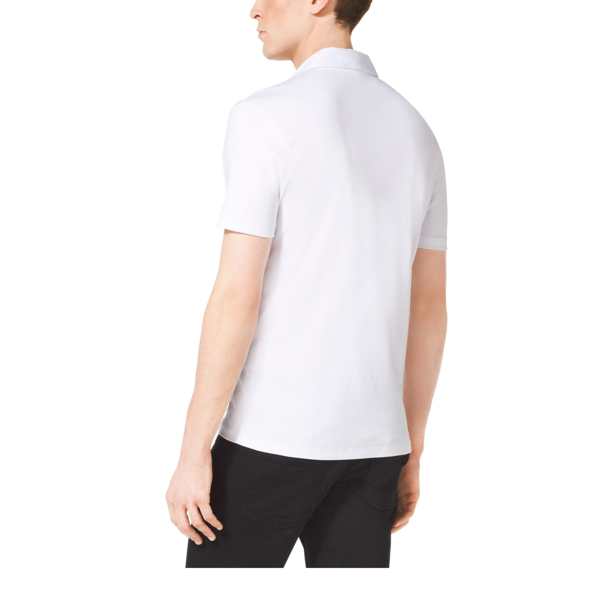 michael kors cotton polo shirt in white for men lyst. Black Bedroom Furniture Sets. Home Design Ideas