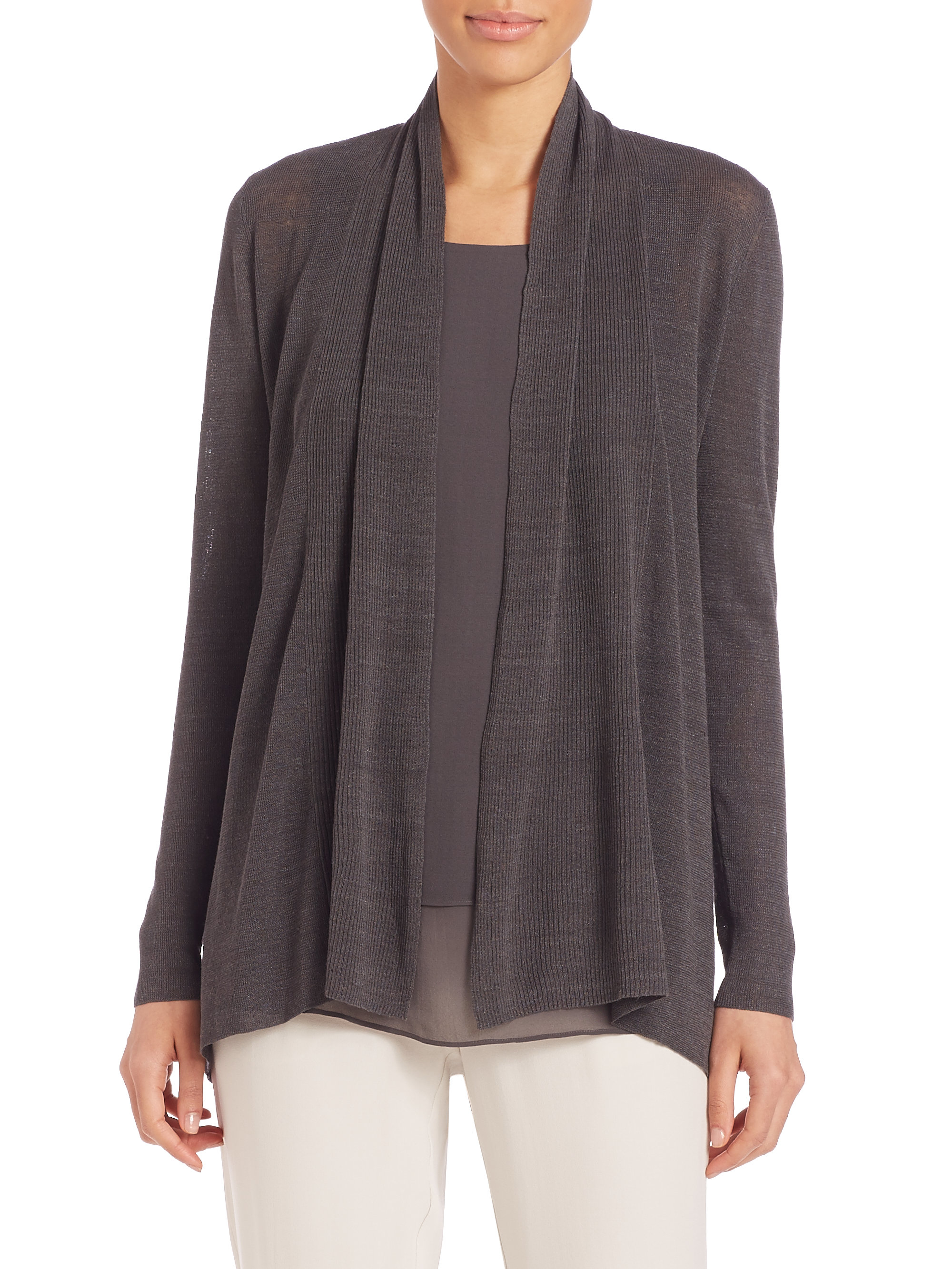 Eileen fisher Ribbed Open-front Cardigan in Brown | Lyst