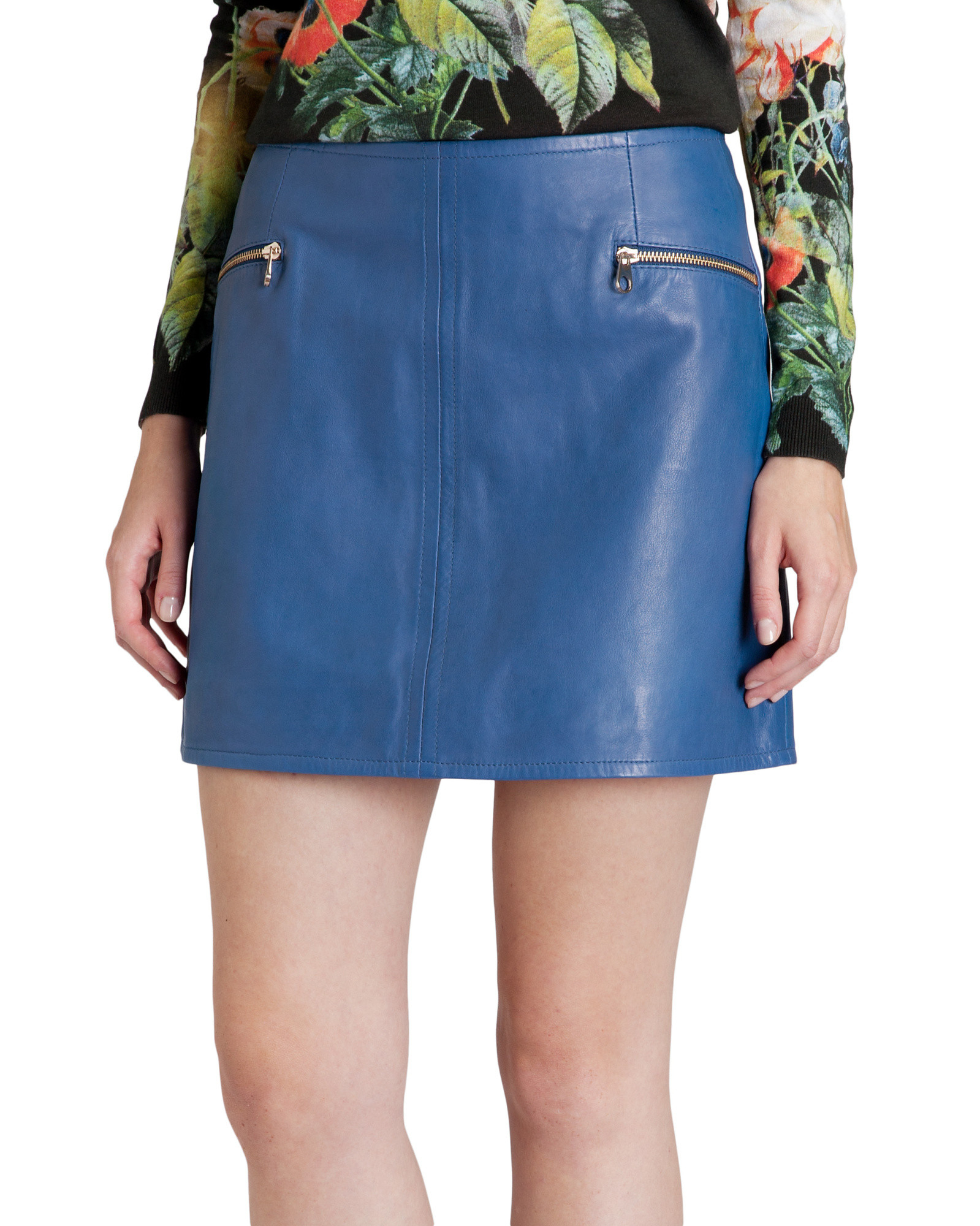 Ted baker Leather Mini Skirt in Blue | Lyst