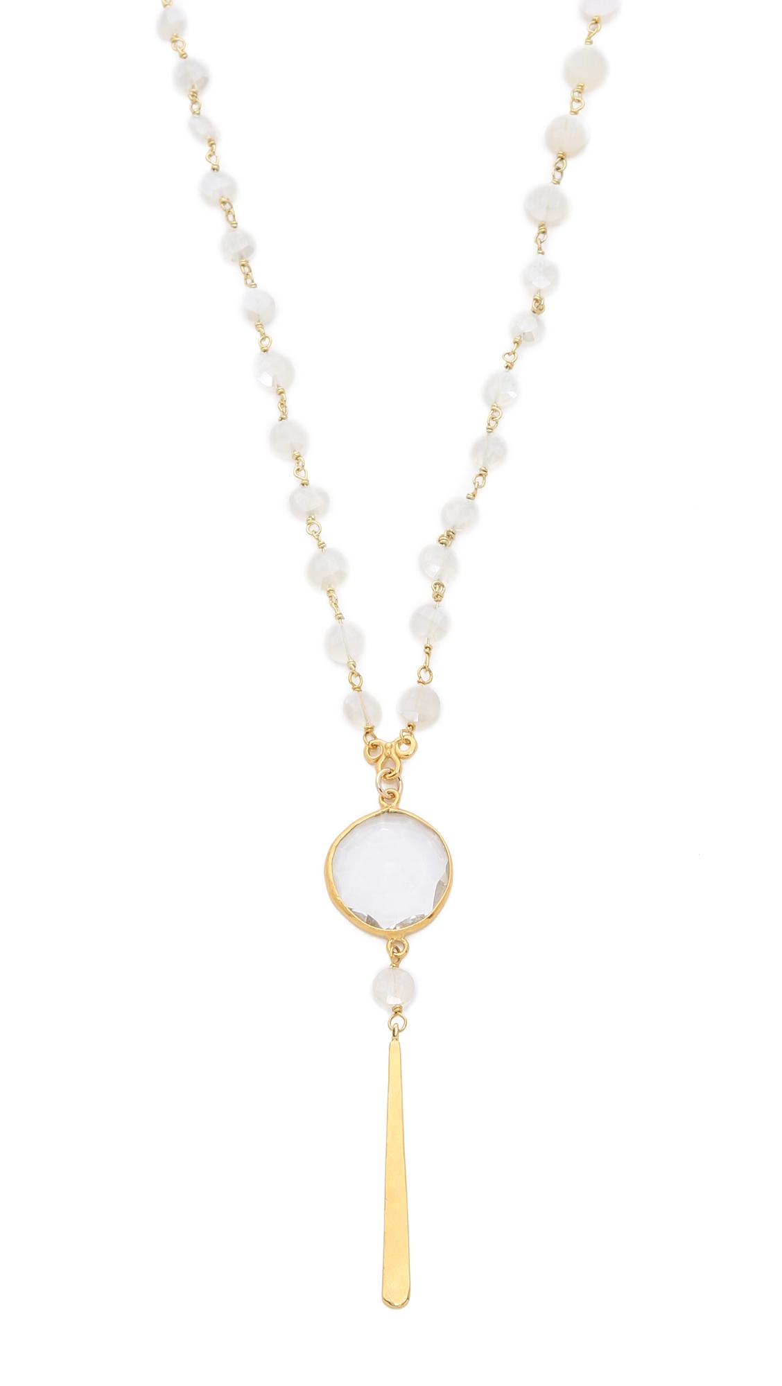 chan luu beaded pendant necklace mystic chalcedony in