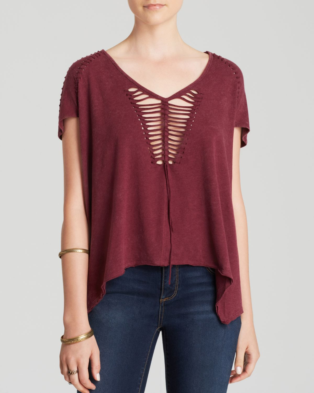 Free people tee too cool for school in red lyst for Too cool t shirts