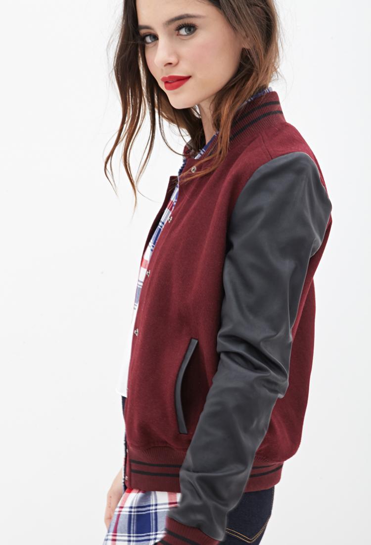 Forever 21 Faux Leather Varsity Jacket in Burgundy/Black