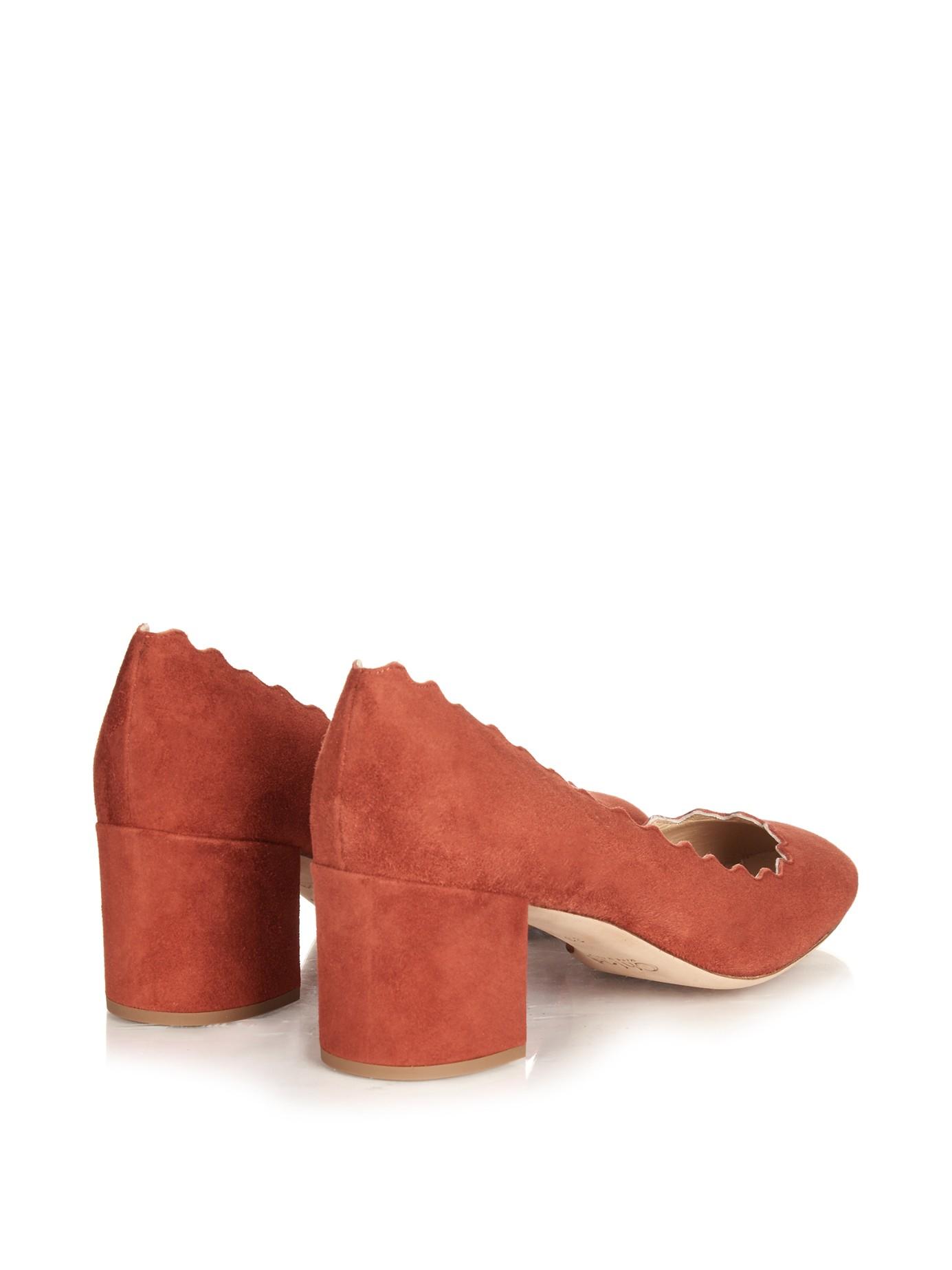 38b7e473b55 Lyst - Chloé Lauren Scallop-edged Block-heel Suede Pumps in Red