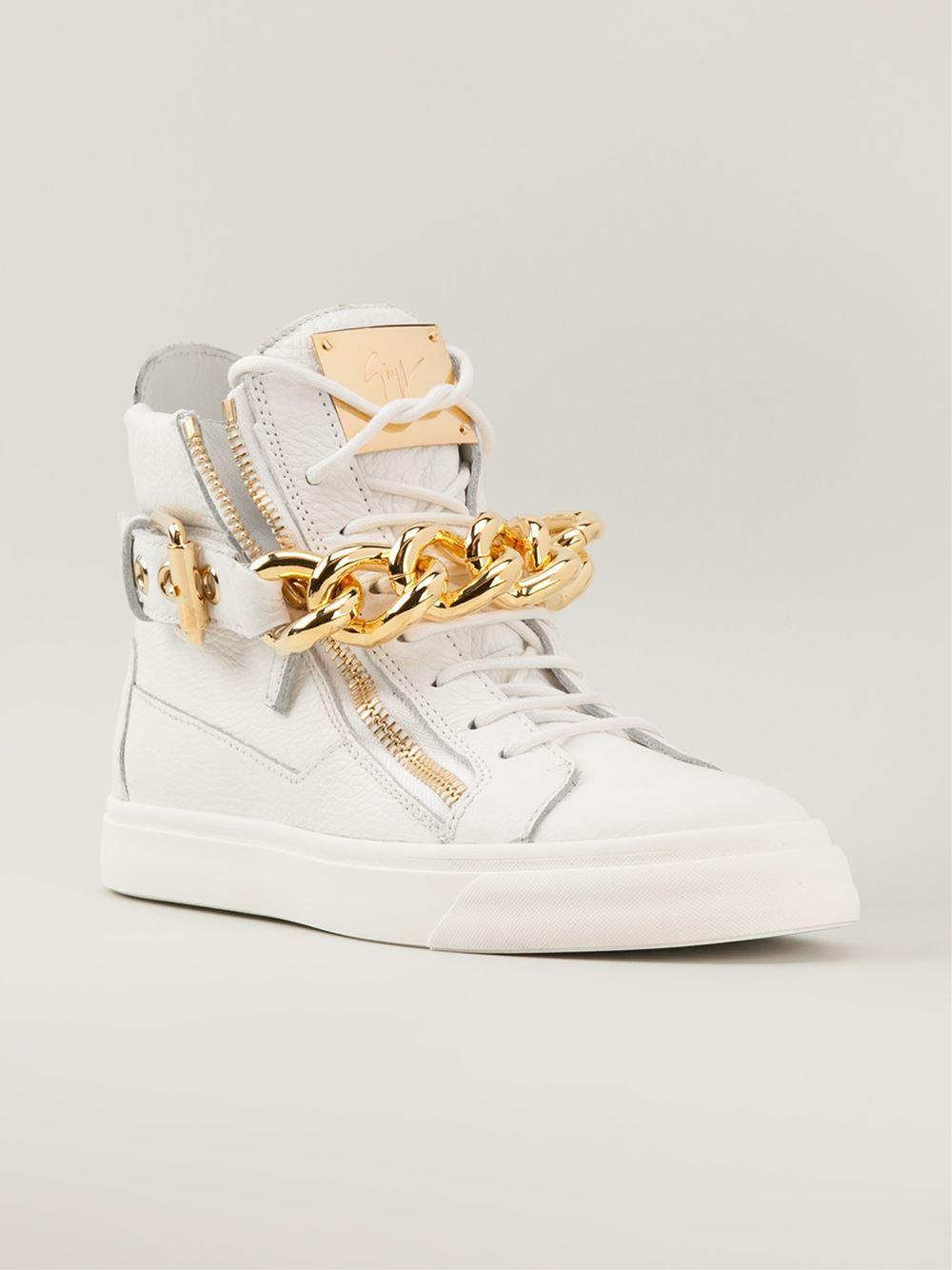 Giuseppe Zanotti White And Gold Shoes