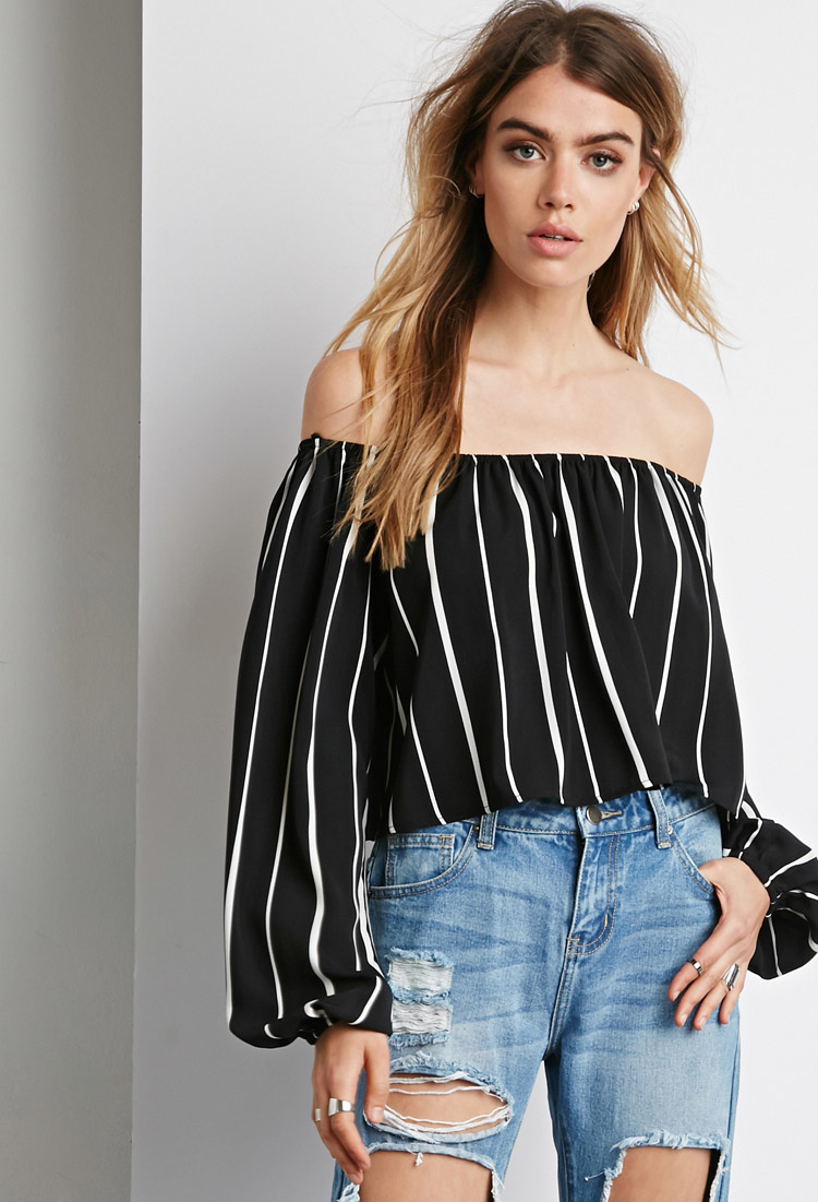 1daca7be910941 Lyst - Forever 21 Striped Off-the-shoulder Top in White