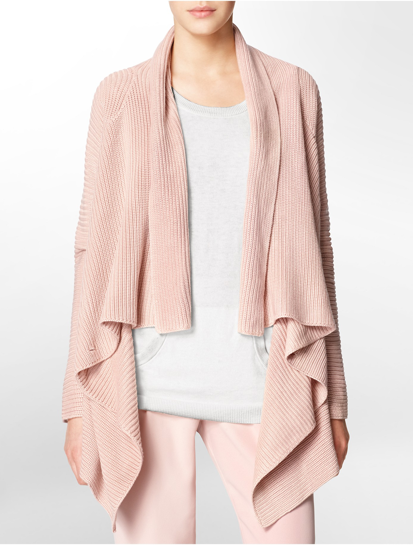 calvin klein white label rib knit sweater jacket in pink. Black Bedroom Furniture Sets. Home Design Ideas