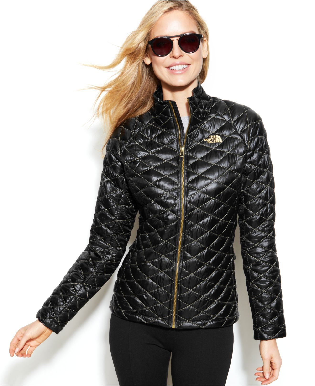 Black and gold quilted leather jacket