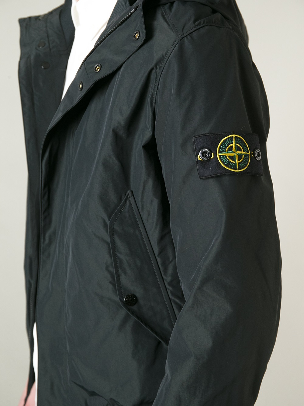 stone island hooded windbreaker in black for men lyst. Black Bedroom Furniture Sets. Home Design Ideas