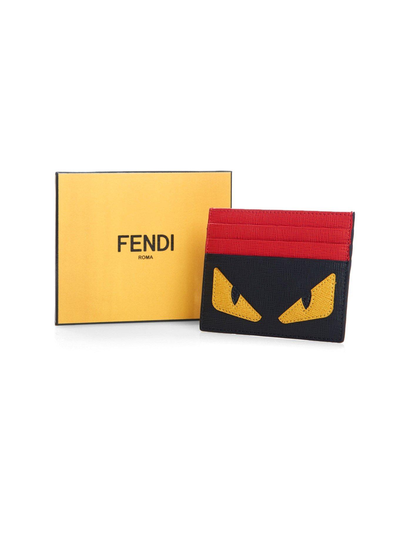 76086978 Fendi Black Bag Bugs Leather Cardholder for men