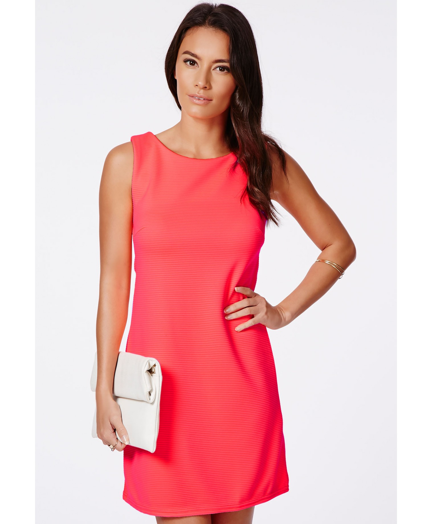 Missguided Guruna Neon Coral Ribbed Shift Dress in Red | Lyst
