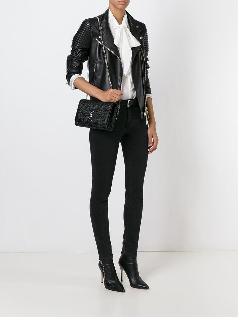 e5becf91c3 Saint Laurent Medium Monogram Leather Cross-Body Bag in Black - Lyst