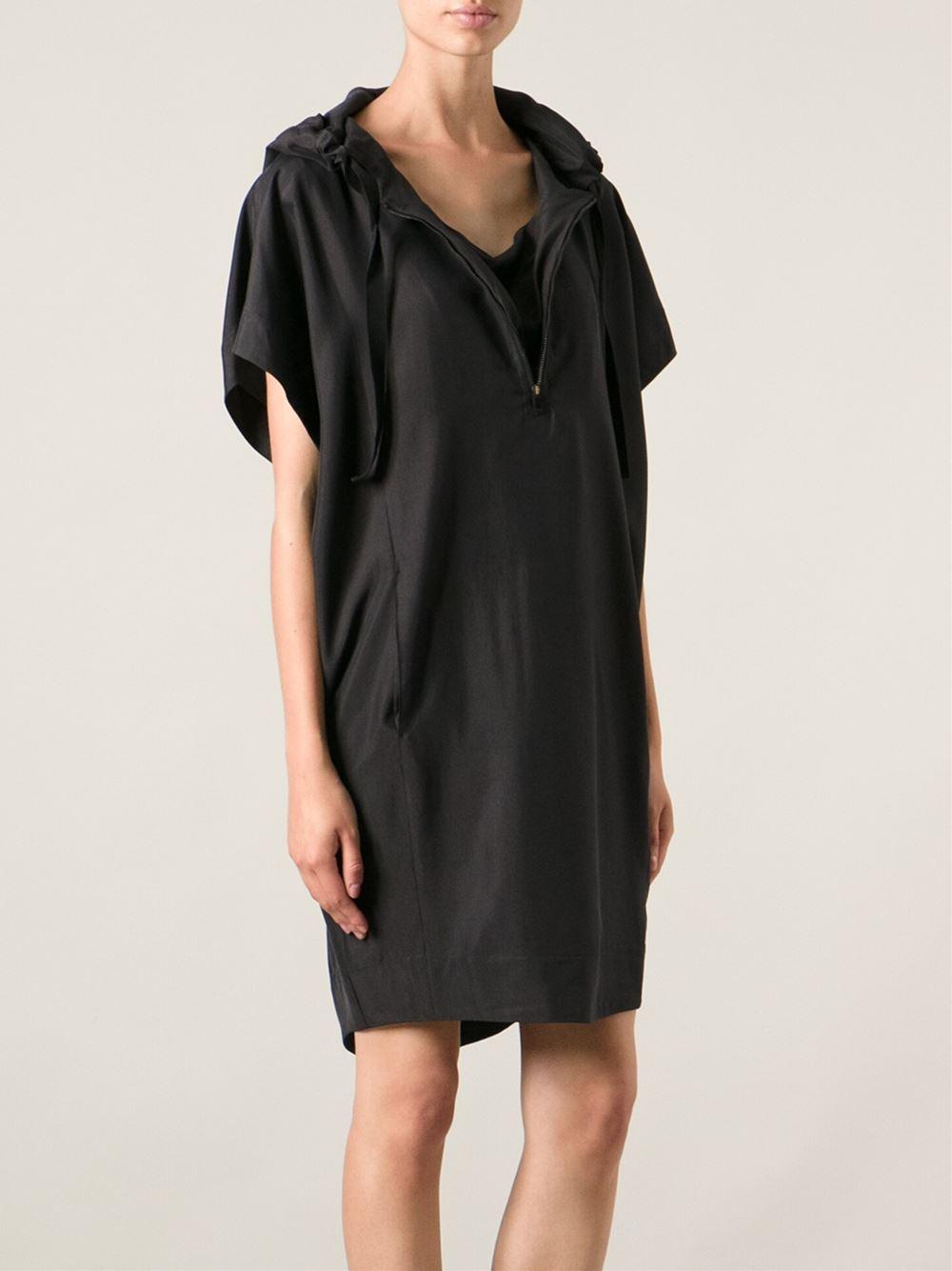 51e1be6b718 MM6 by Maison Martin Margiela Hooded Tunic Dress in Black - Lyst