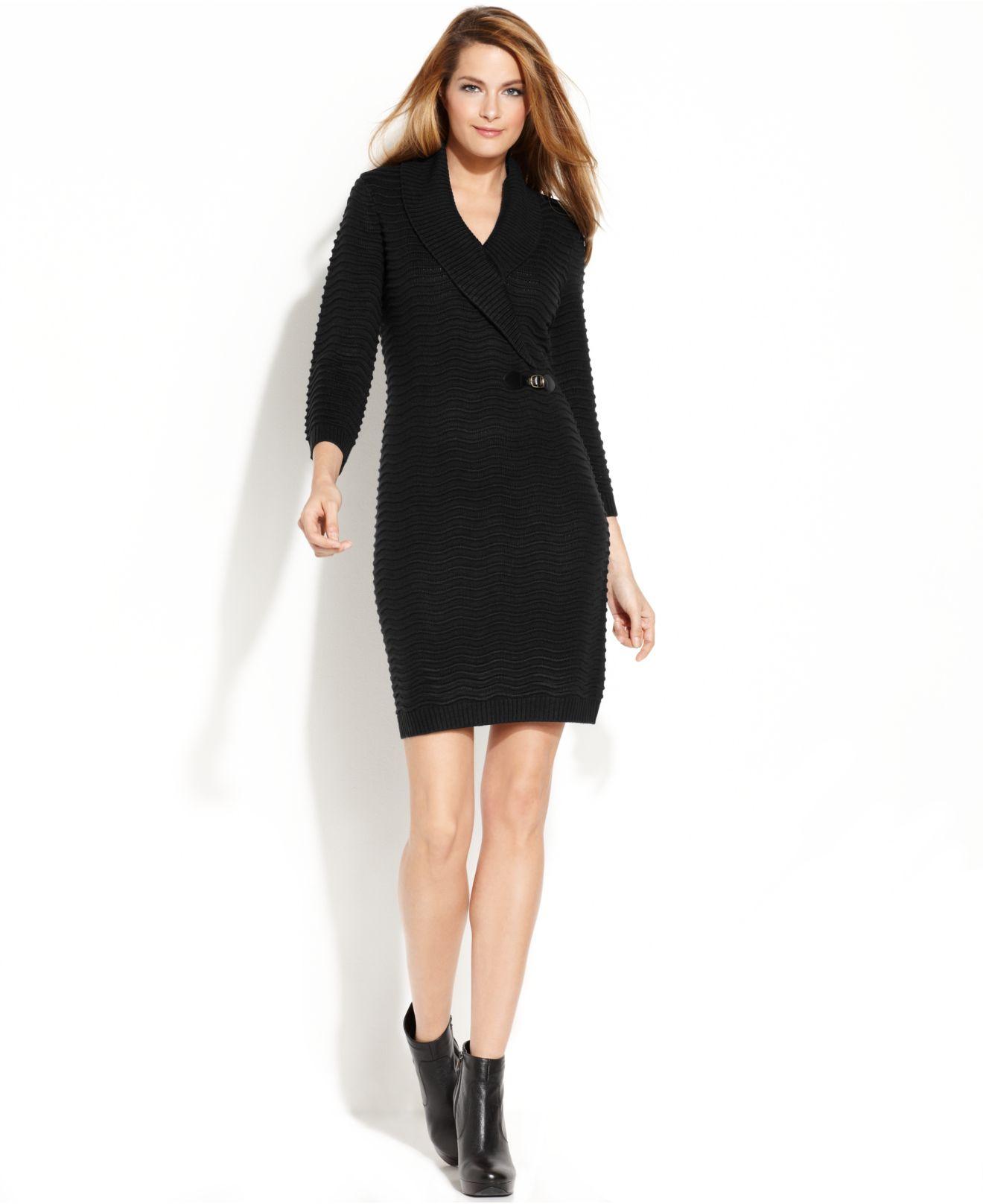 Calvin Klein Textured Knit Sweater Dress In Black Lyst