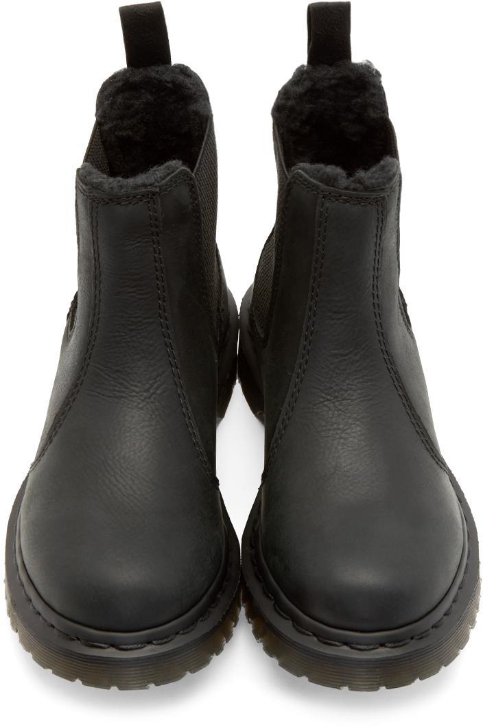 Dr. Martens Black Fur_lined Leonore Chelsea Boots