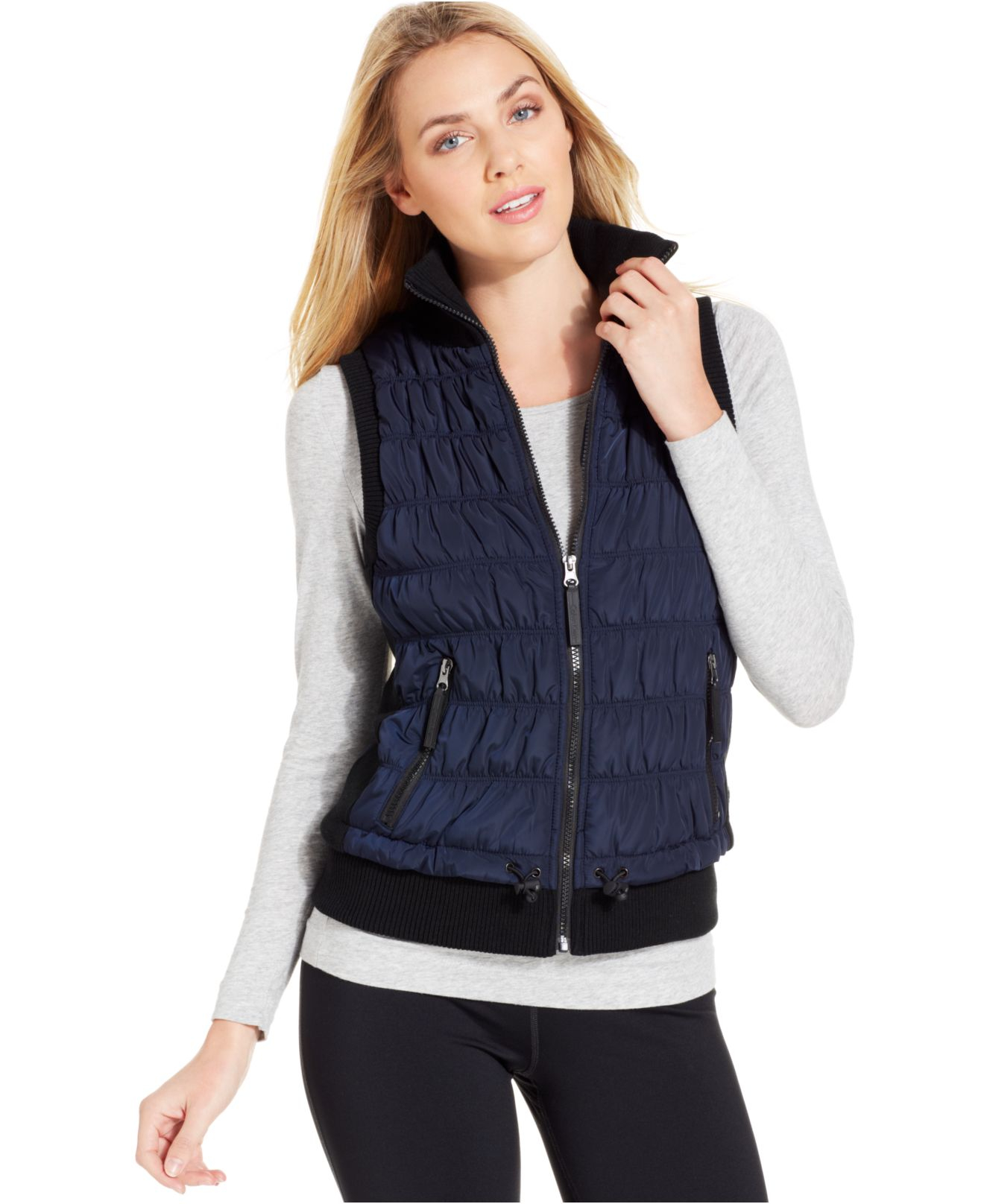 Lyst Calvin Klein Performance Ribbed Knit Quilted Puffer