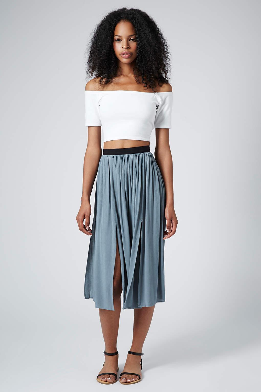Topshop Womens Chambray Spliced Midi Skirt Chambray in ... - photo #35