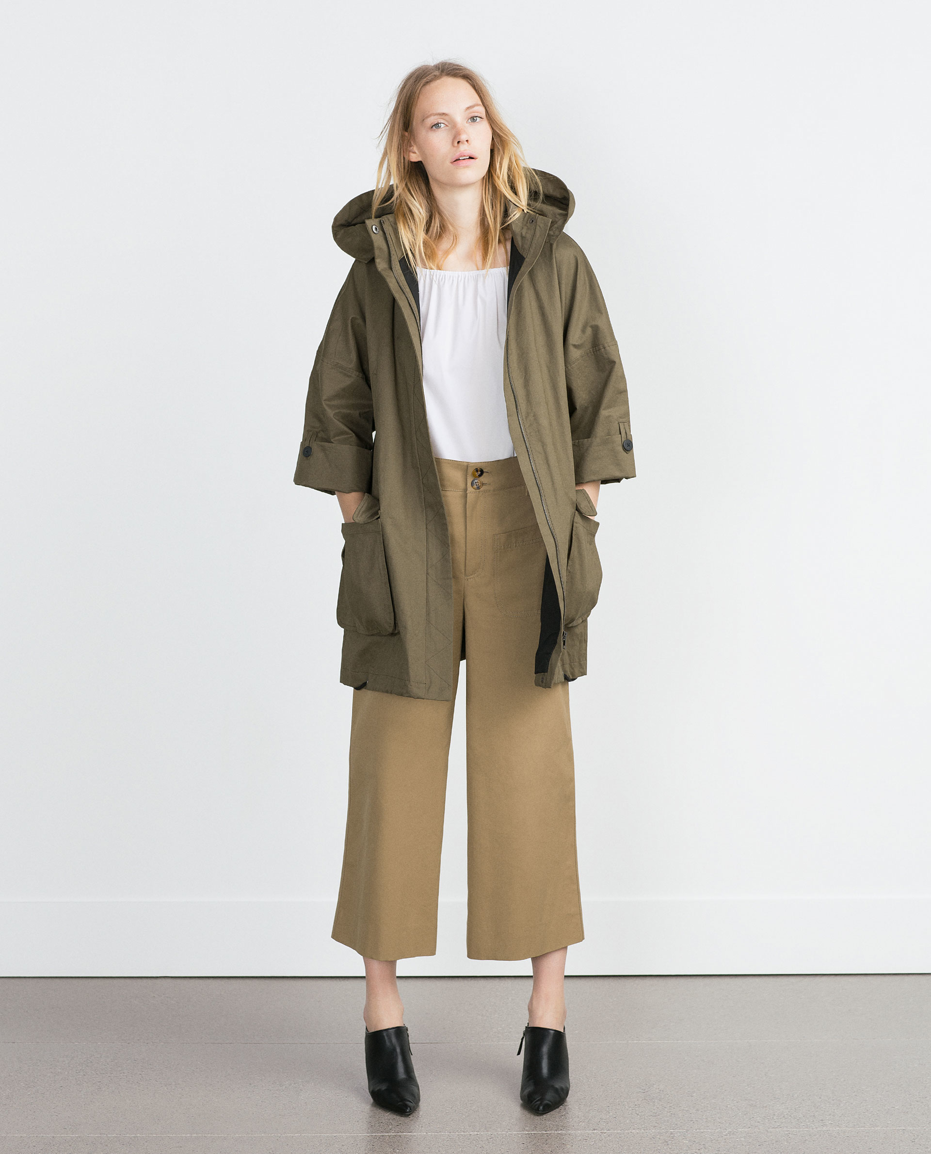 Zara oversize parka oversize parka in khaki lyst for Zara mens shirts sale
