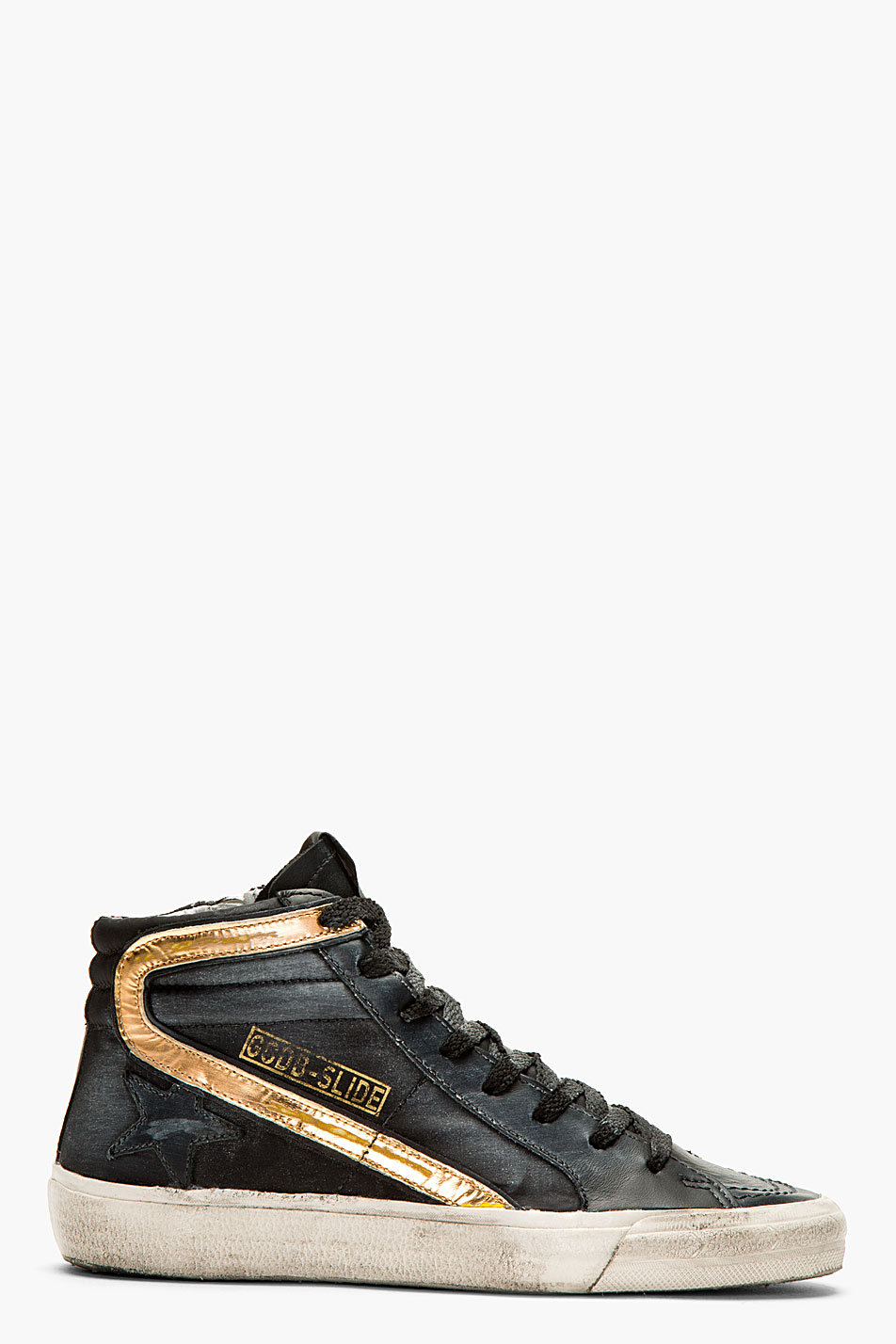 Golden Goose Deluxe Brand Black And Copper Distressed