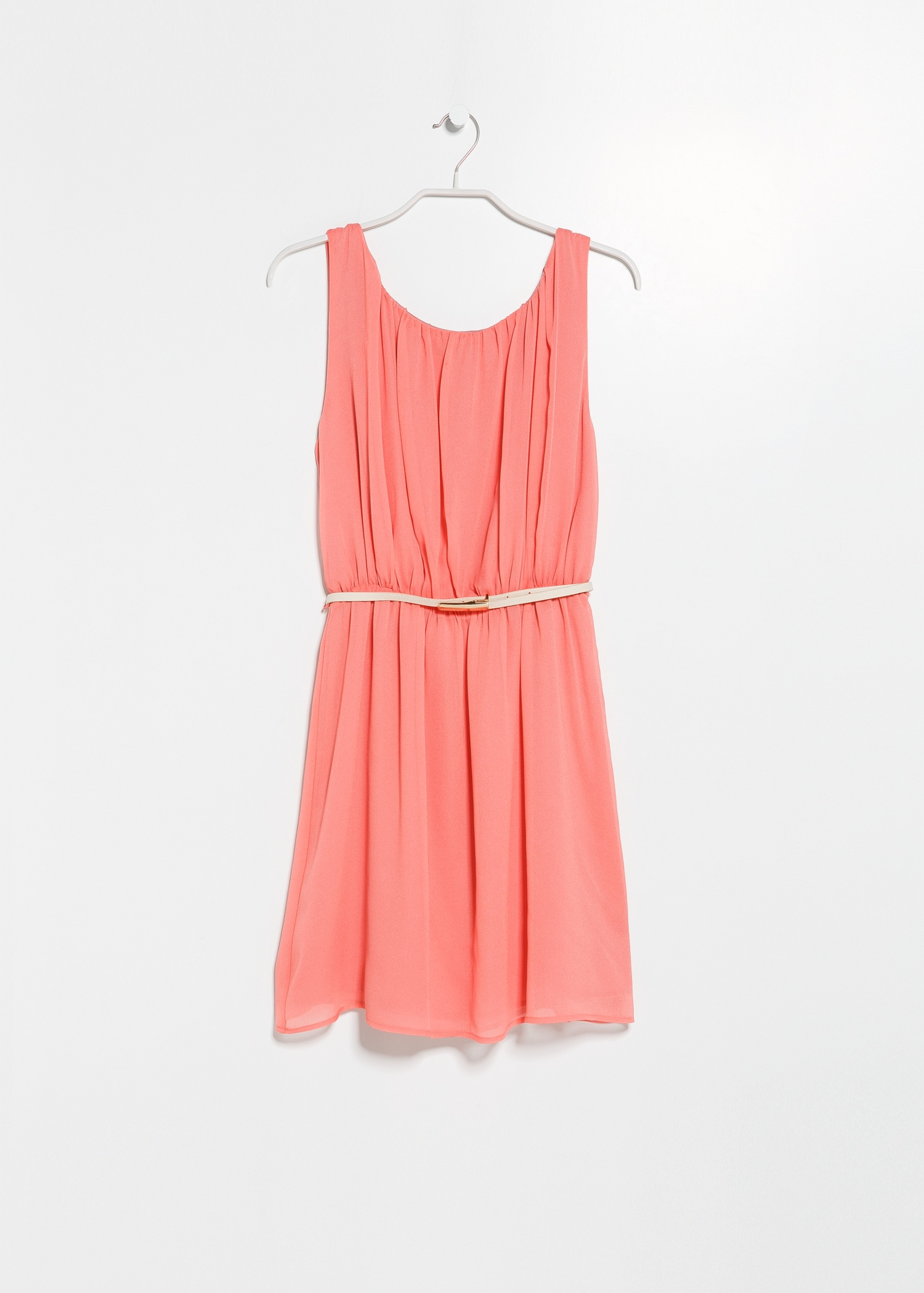 Lyst Mango Pleated Flowy Dress In Orange