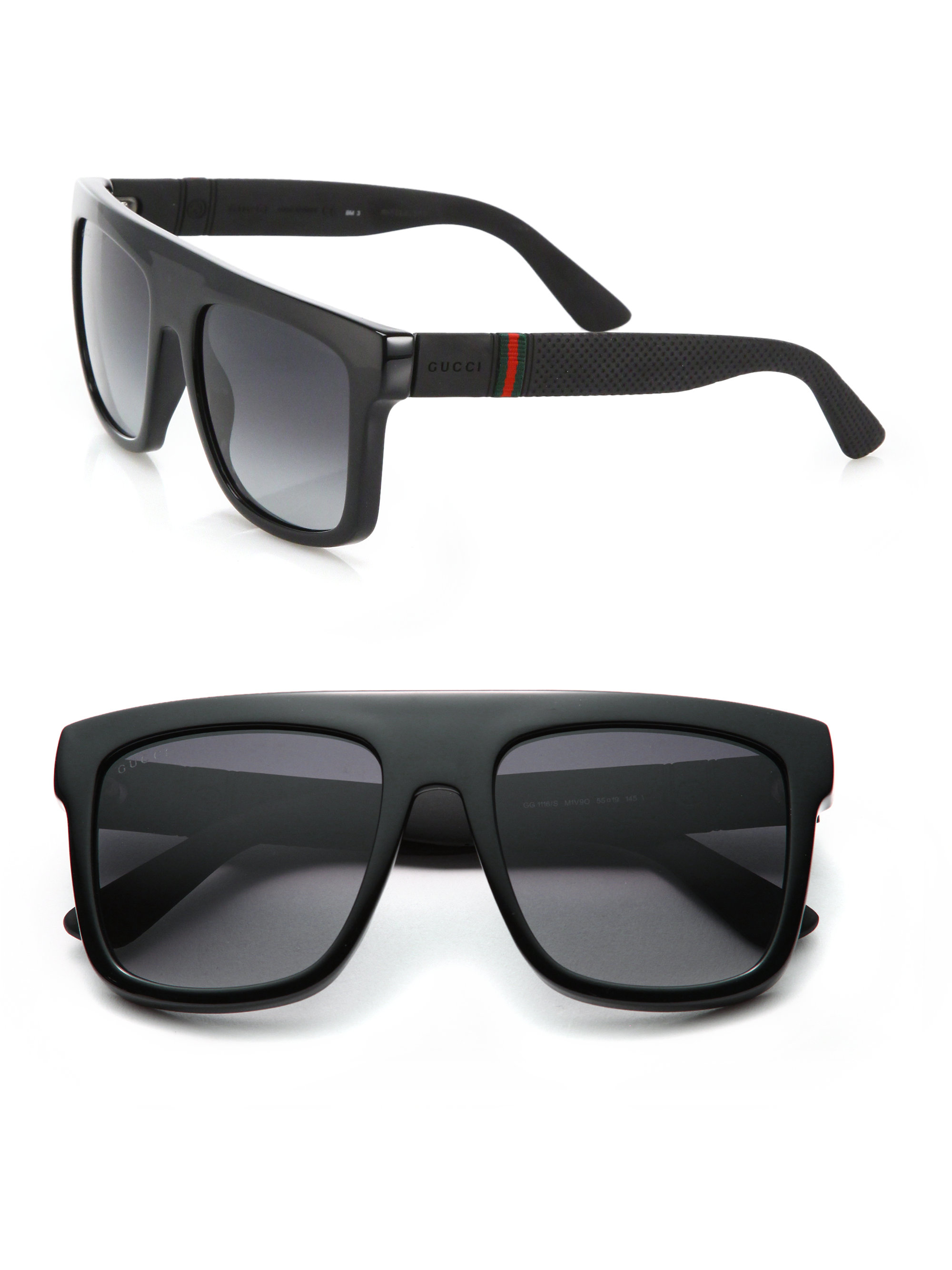 944a09ef9114 Gucci 55mm Flat-top Injected Sunglasses in Black for Men - Lyst