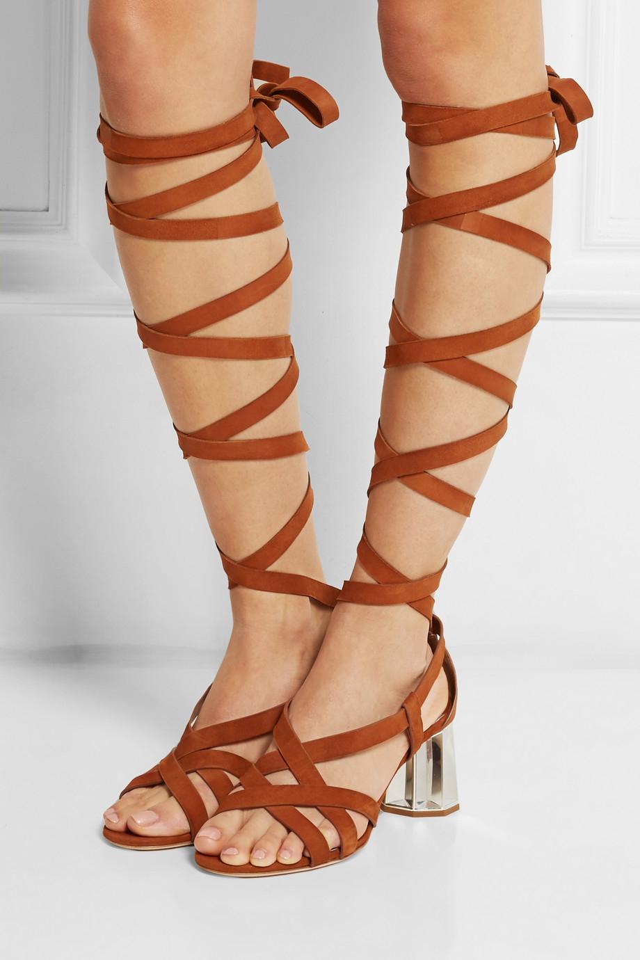 Miu Miu Black Suede Lace-Up Sandals BfptYckX1o