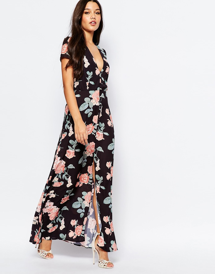 Oh My Love Synthetic Maxi Tea Dress With Open Back - Black Floral Print