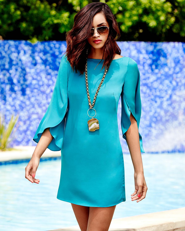 Lyst Milly Butterfly Sleeve Sheath Dress In Blue