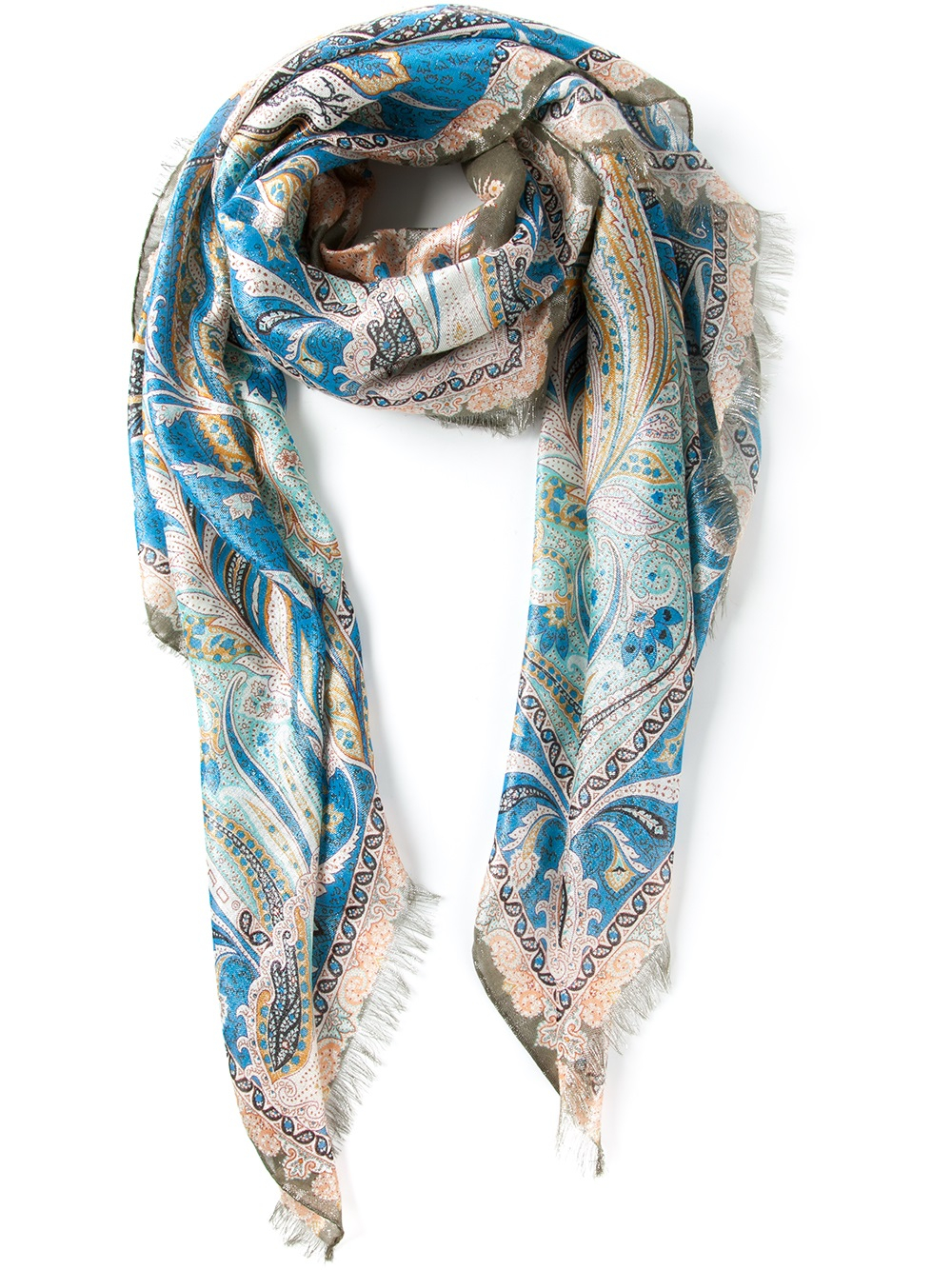 etro patterned scarf in blue lyst