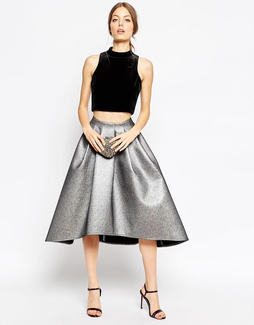 asos midi skirt in metallic with dip back in silver